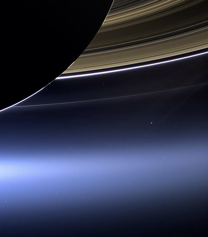 NASA Releases Photo of Earth Taken from the Dark Side of Saturn by the Cassini Spacecraft space Saturn NASA Earth