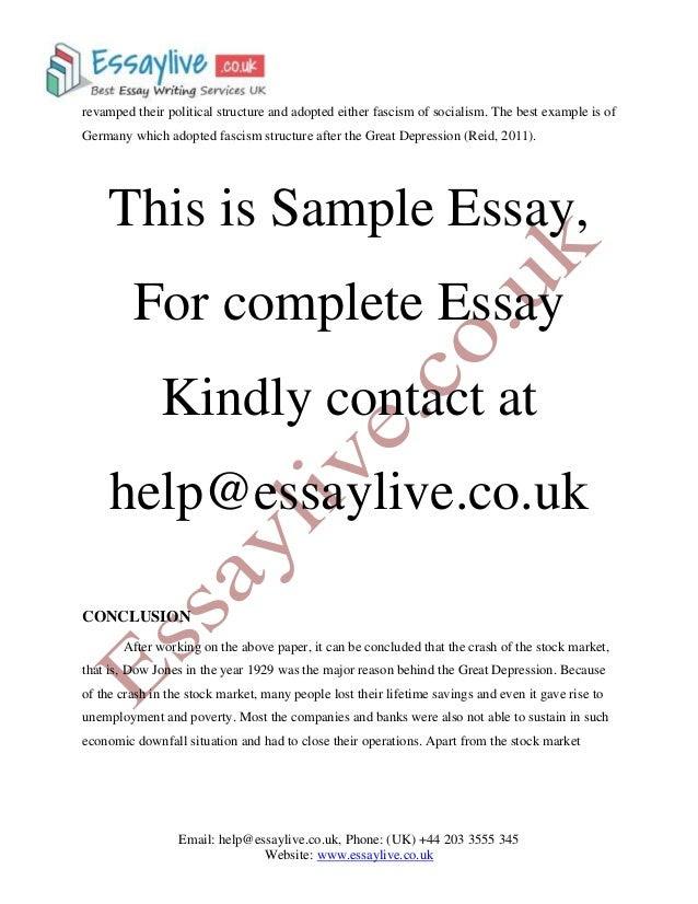 Great Depression Essay Sample