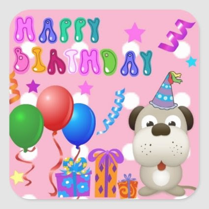 Happy birthday cute puppy with cake and gifts pink square stickers