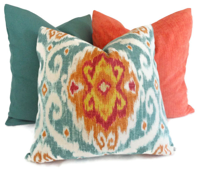 Colorful Orange And Turquoise Pillows Home Products on Houzz