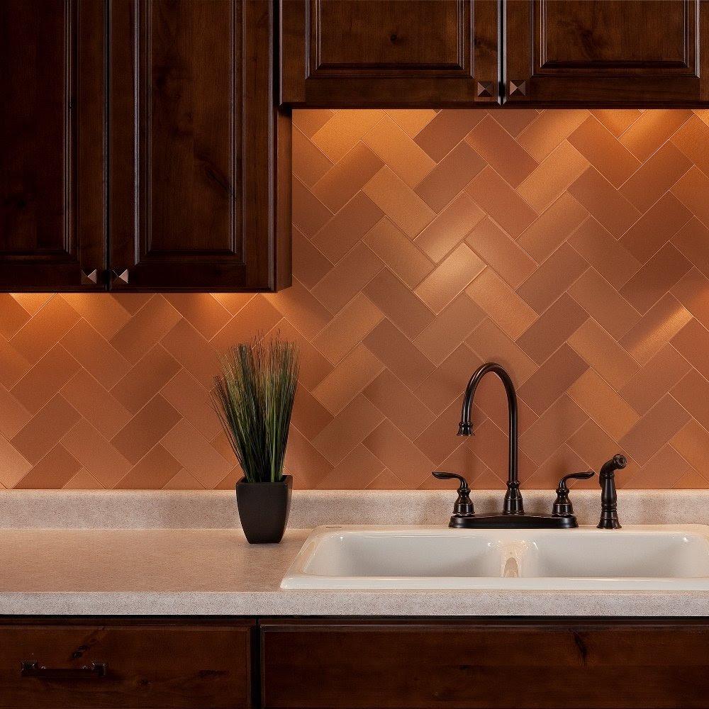 copper penny tile backsplash
