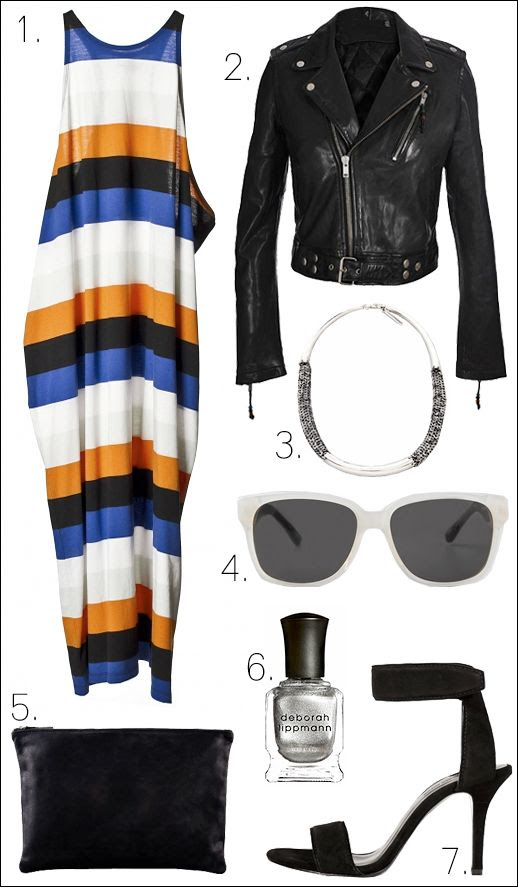 LE FASHION OUTFIT COLLAGE MELINDA DRESS CHEAP MONDAY LEATHER MOTO JACKET BLK DNM MANIA MANIA NECKLACE THE ROW LINDA FARROW SUNGLASSES CLARE VIVIER CLUTCH ALEXANDER WANG COLLETTE