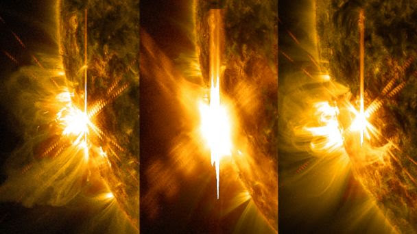HT solar flare triptych jtm 140611 16x9 608 Solar Flares Disrupt Communications on Earth, Could Send Shockwave on Friday the 13th