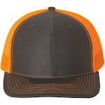 Richardson 112 Snapback Trucker Cap - Charcoal/ Neon Orange - Adjustable