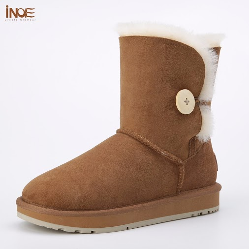 New #Arrivals #INOE real sheepskin leather short suede women winter snow boots with button sheep fur...