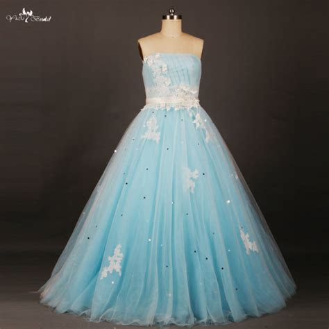 RSE658 Long Puffy White Floral And Light Baby Blue