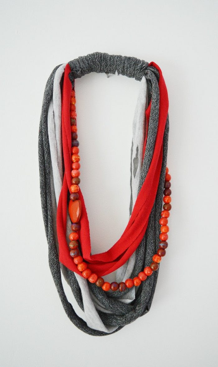 Upcycle your old stained t shirts into necklaces