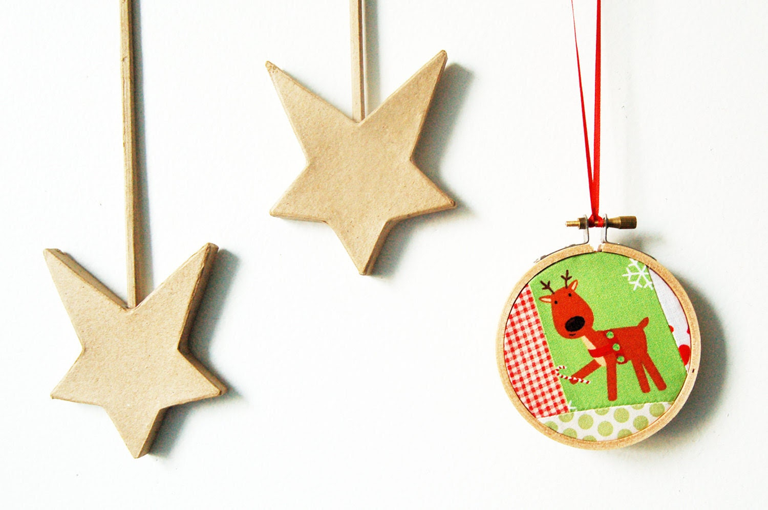 Reindeer with Candy Cane Christmas Fabric Ornament. Patchwork Fabric Hoop. By merriweathercouncil on Etsy.
