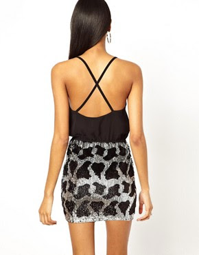 Image 2 ofASOS PETITE Exclusive Mini Dress With Embellished Leopard Print Skirt