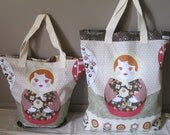Russian Doll Tote Bags - olive and brown variety