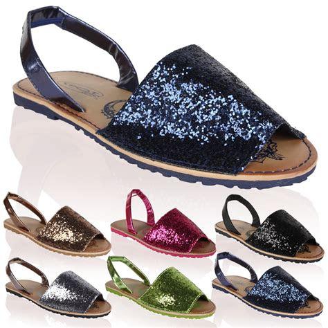 ladies glitter sling  flat womens summer flip flops
