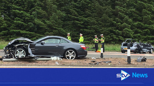 Two car crash seriously injures four on A90 near Tealing
