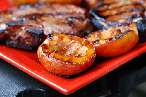 Grilled Pork Chops & Balsamic-Glazed Peaches by Eve Fox, Garden of Eating blog, copyright 2011