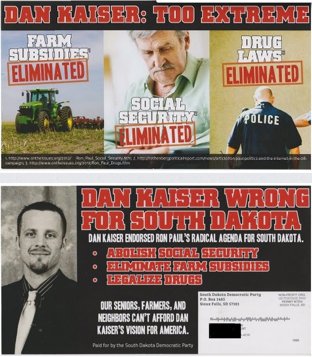 SDDP postcard attacks Dan Kaiser's Ron Paul politics 2012