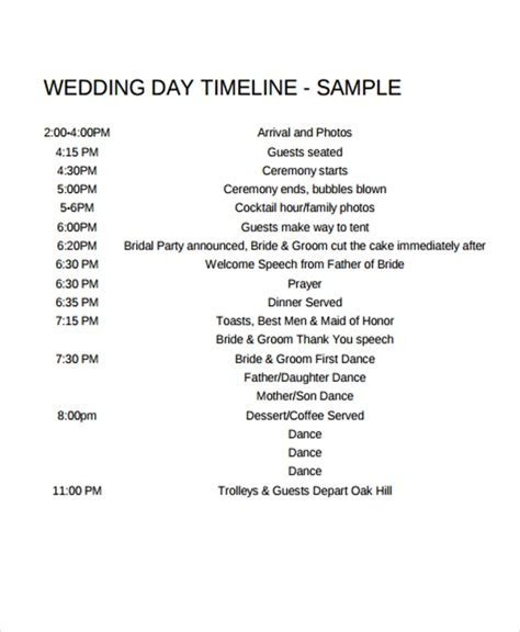 6  Wedding Day Timeline Templates   Free Samples, Examples