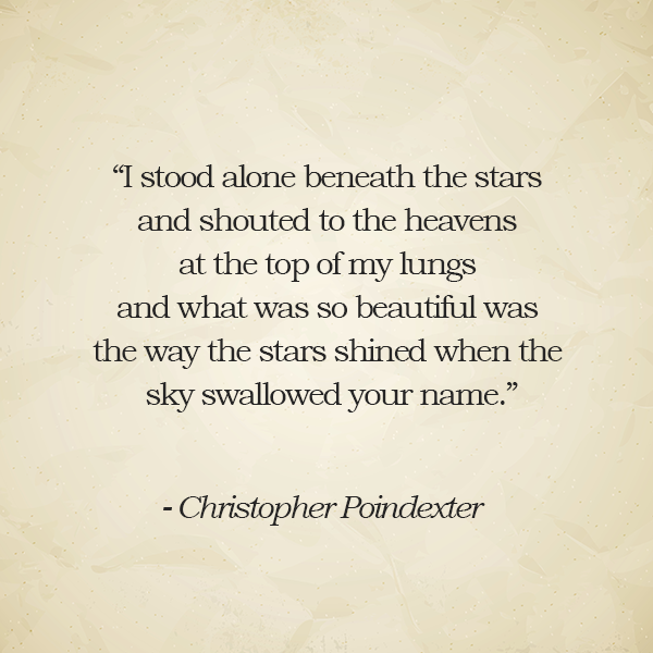I Stood Alone Beneath The Stars Christopher Poindexter Love Quote