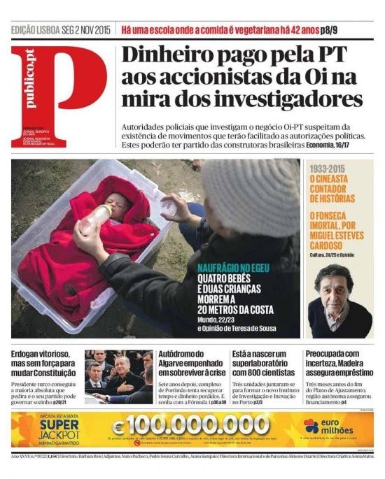 A capa do jornal português Público, que trouxe denúncias sobre o acordo da Oi com a Portugal Telecom