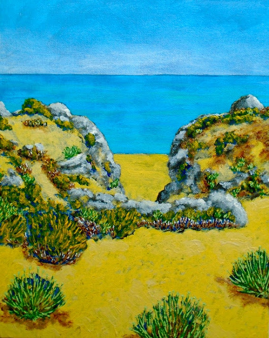 The Beach In Albufeira Portugal ORIGINAL ACRYLIC PAINTING