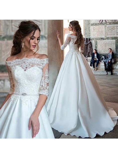 Elegant Ball Gown Half Sleeve Wedding Dress, White Lace