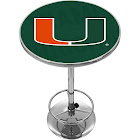 University of Miami Chrome Pub Table - Wordmark