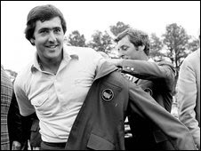 "eve Ballesteros, left, gets the Masters green jacket from last year""s winner, Fuzzy Zoeller, after winning the 1980 Masters in Augusta, Ga., in this April 13, 1980 file photo"