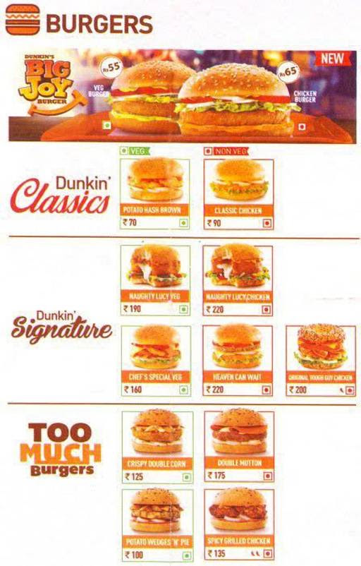 Menu of Dunkin' Donuts ,Connaught Place (CP), New Delhi ...