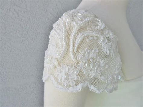 Detachable Ivory Beaded Lace Cap Sleeves To Add To Your