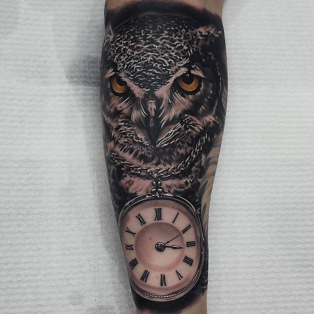 Clock On Chain Owl Tattoo On Forearm Tattoo Best Tattoo Ideas Gallery