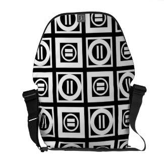 White on Black Geometric Equal Sign Pattern Messenger Bag