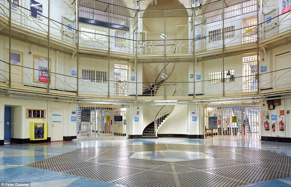 Jail time: The hexagonal central hall of Wandsworth Prison in south-west London, which dates back more than 150 years and is one of the biggest prisons in Europe