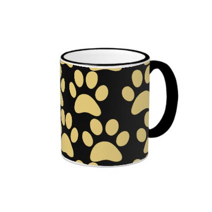 Cute Puppy Dog Paw Prints Tan Black Coffee Mug