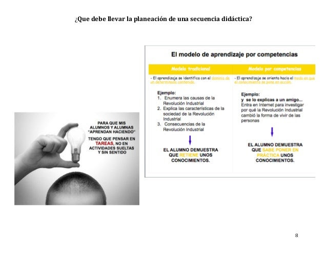 ¿Que debe llevar la planeación de una secuencia didáctica? 8