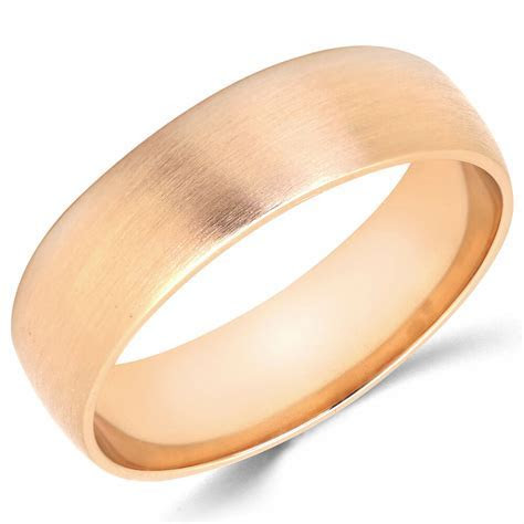 10K Solid Rose Gold 6mm Brush Finish Men's and Women's