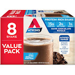 Atkins High Protein Shake - Dark Chocolate Royale - 8ct