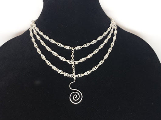 Sterling chainmaille necklace. Twisted by MailleForSaleByMail