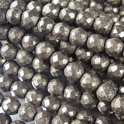 s16935 Stone Beads - 6 mm Faceted Round - Pyrite (strand)