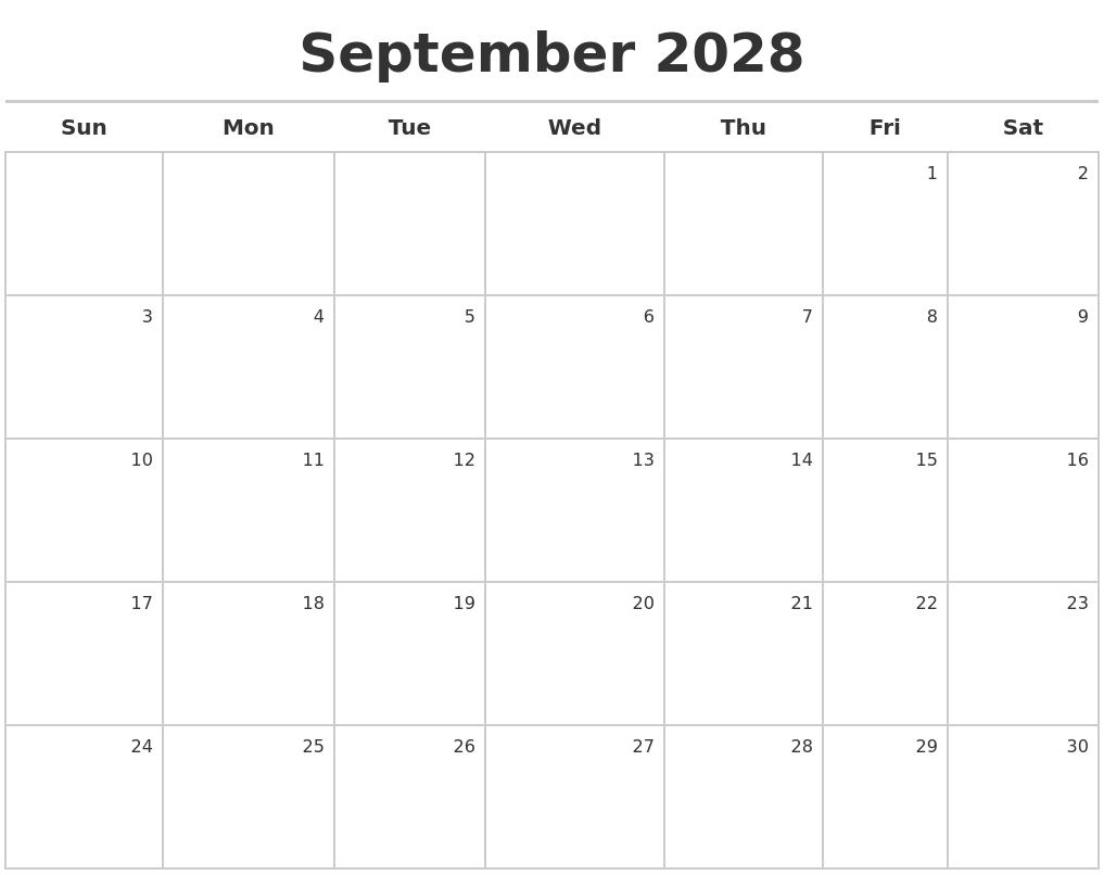 september 2028 calendar maker