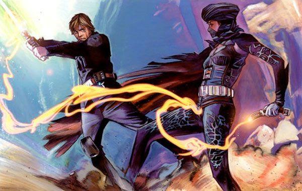 Lumiya duels with Luke Skywalker.