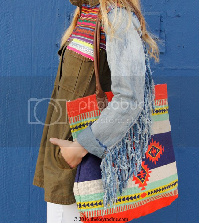 Boohoo Boutique Ava denim and Aztec fringe jacket, Mossimo global woven tote bag