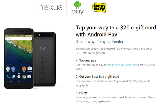 [Deal Alert] Use Android Pay To Tap And Pay With A Nexus Before 12/31 And Get A $20 Best Buy Gift Card