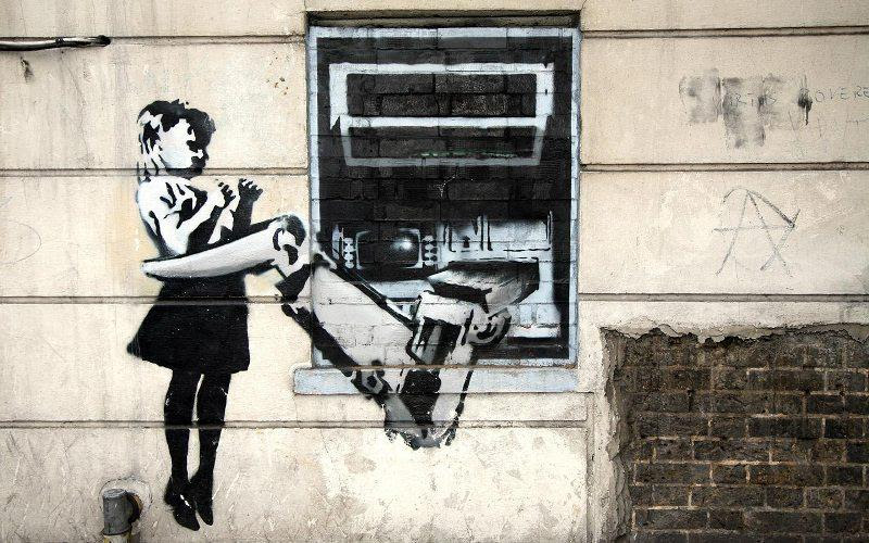 Banksy Girl Held By ATM Robot Arm
