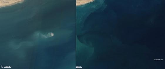 Foto de satélite que mostra a região onde surgiu a ilha antes, e depois do terremoto