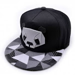(Black) - Clearance . Charberry Mens Rubber Three-Dimensional Panda Cap Snapback Golf ball Hip-Hop Hat (Black)