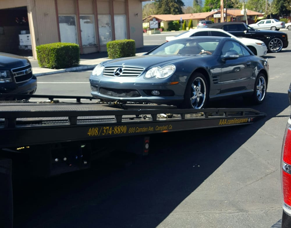 Here she is, on its way to Stevens Creek Mercedes, still ...