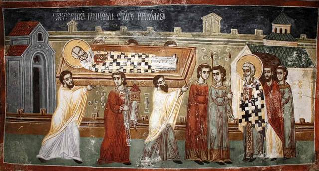 St Nicholas being carried to his burial place  (http://www.omhksea.org/2011/12/saint-nicholas-archbishop-of-myra/)