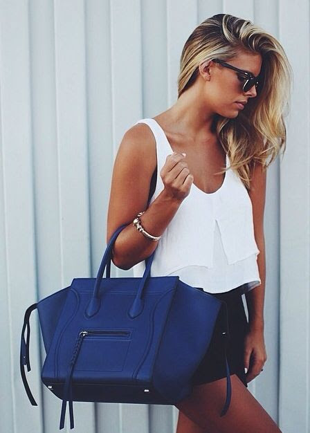 white tank + black shorts + celine
