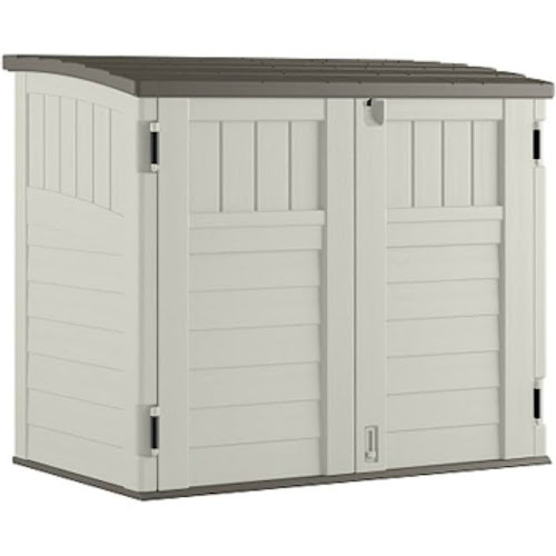 Suncast Small Horizontal Storage Shed, Vanilla