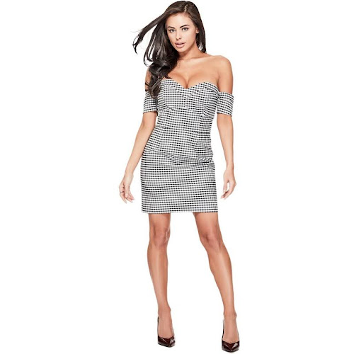 Guess Womens Sweetheart Plaid Bodycon Dress, Size: 0, Black
