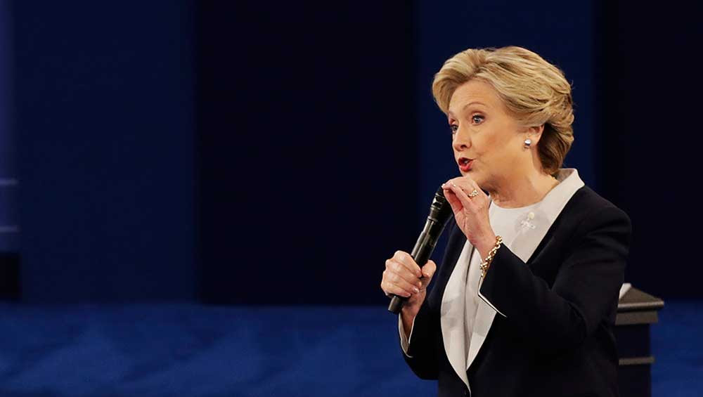 Hillary Clinton during the second presidential debate at Washington University in St. Louis. New troves of emails from the Clinton campaign released by Wikileaks show Clinton openly discussing holding different views in private than she has in public, and also lying about her close ties to Wall Street. (AP)