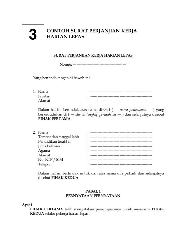 contoh surat perjanjian kerjaharianlepas